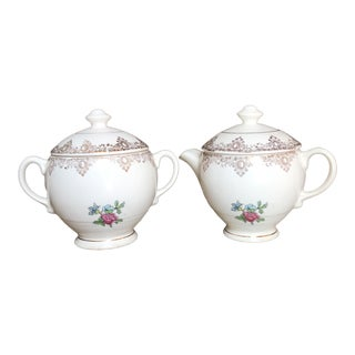 Vintage Floral Cream & Sugar Dishes - A Pair For Sale