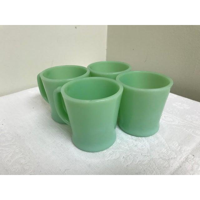 Glass Vintage Fire-King Jadeite Green Mugs - Set of 4 For Sale - Image 7 of 7