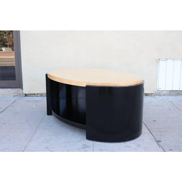 Maple and Black Lacquer Coffee Table in the Style of Karl Springer - Image 3 of 7