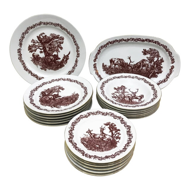 Black Forrest Theme Jlmenau Graf Von Henneberg Dinnerware - 22 Pieces For Sale