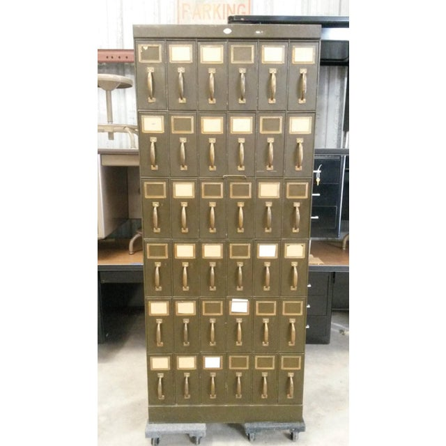 We have this Unique Antique Art Metal Vertical Filing Cabinet from the  early 1900's available. - Antique Art Metal Vertical Unique Dark Green 36 Drawer Filing