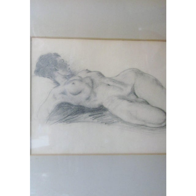 Art Deco Vintage 1930s Art Deco Nude Portrait Life Figure Pencil Drawing Signed and Framed For Sale - Image 3 of 11