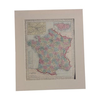 Antique Map of France Including Paris & Corsica For Sale