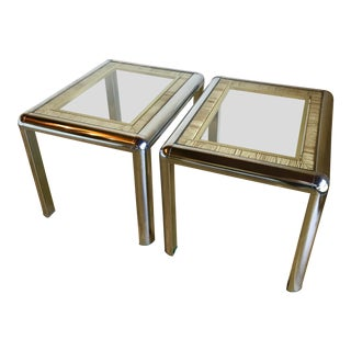 1970s Mid Century Modern Milo Baughman Tubular Chrome Rattan Cane and Brass Side Tables - a Pair For Sale