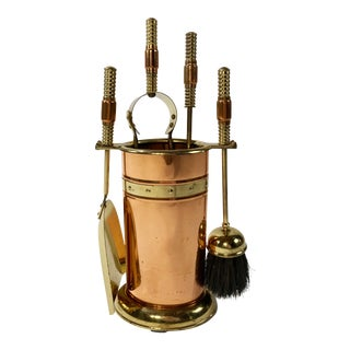 Copper and Brass Fireplace Tools, Set of 4 For Sale