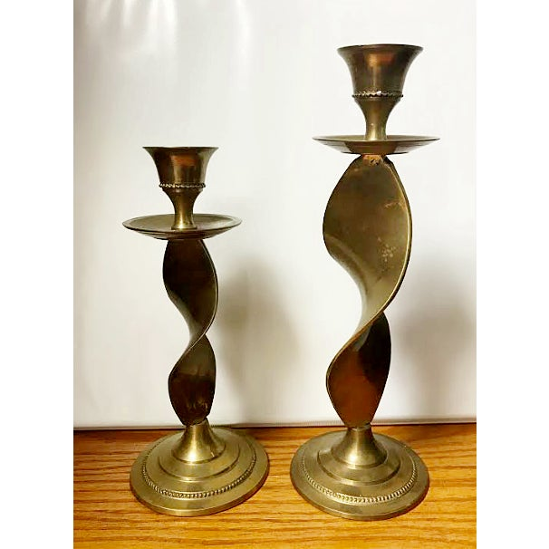 "Vintage Brass twisted ribbon candle stick holders. Made in India. Sml: 6-3/4""H x 3""DIAM Lg: 8-1/2""H x 3""DIAM Set to be..."