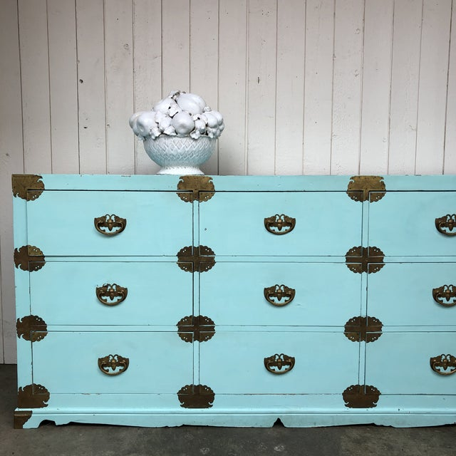 Antique Korean Dresser Campaign in Tiffany Blue For Sale In Portland, OR - Image 6 of 12