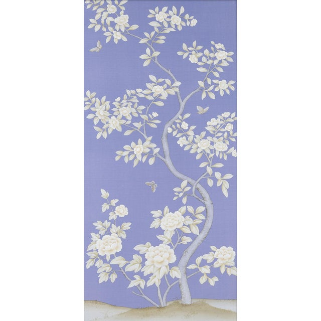 Hand-painted on Periwinkle or Cornflower blue silk, this pair of diptych panels feature traditional Chinoiserie style...