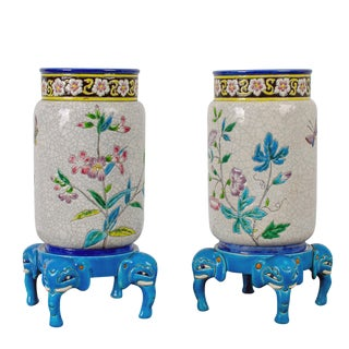 Late 19th Century Longwy Pottery Vases and Stands - a Pair For Sale