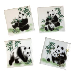 Set of 4 Porcelain Panda Bear Coasters For Sale