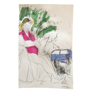 1980s Camping Woman Reading a Newspaper Portrait Painting For Sale