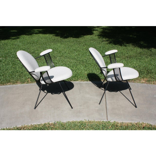 1950s Mid-Century Modern Mathieu Matégot Style Perforated Iron and Bouclé Upholstered Armchairs For Sale - Image 5 of 13