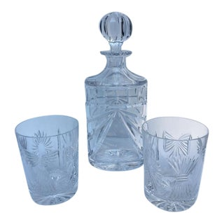 Waterford Overture Decanter & Old Fashion Glasses - Set of 3 For Sale
