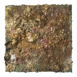 """""""Gold Dust One"""" Abstract Sculptural Painting by Chloe Hedden For Sale"""