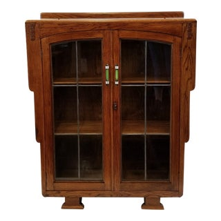 1920s English Art Deco Oak Display Cabinet / Bookcase With Glazed Doors