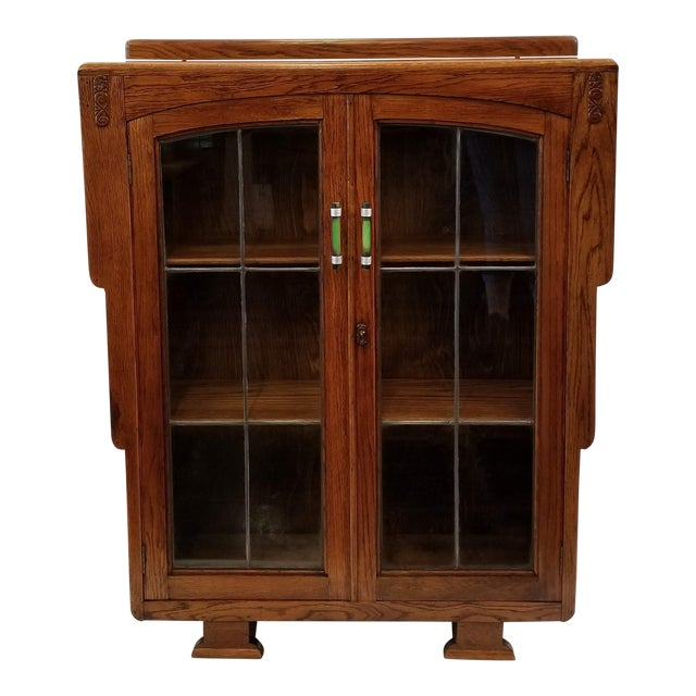 1920s English Art Deco Oak Display Cabinet / Bookcase With Glazed Doors For Sale