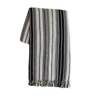Black Striped Guatemalan Blanket For Sale