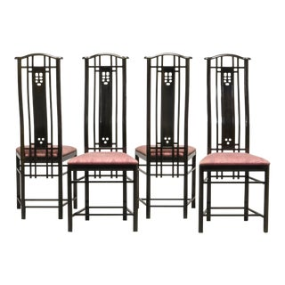 Mid-Century Italian Design Black Lacquered and Pink Fabric Dining Chairs by Giorgetti, 1970s - 1980s. For Sale