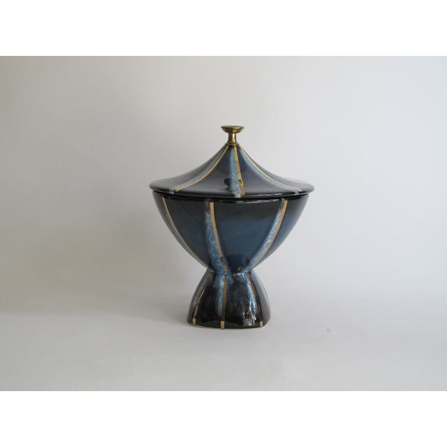 Navy & Gold Lidded Candy Dish - Image 2 of 5