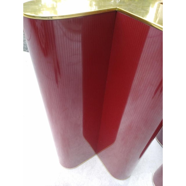 "1960s A Pair Mid Century Modern Cherry Red and Brass ""X"" Style Table Bases Attributed to Curtis Jere For Sale - Image 5 of 11"
