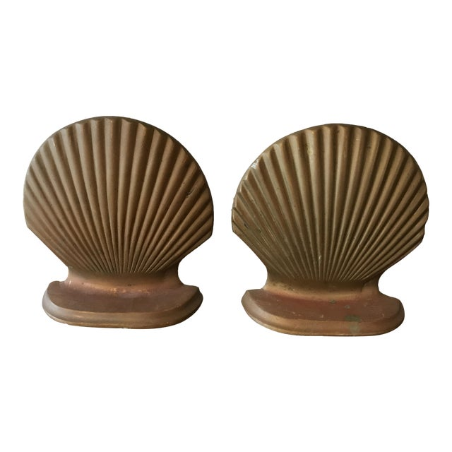 Brass Seashell Bookends - a Pair - Image 1 of 6