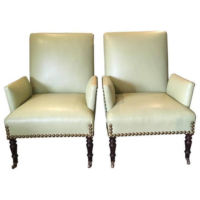 Vintage Lime Green Leather George Smith Club Chairs- A Pair For Sale - Image 11 of 11