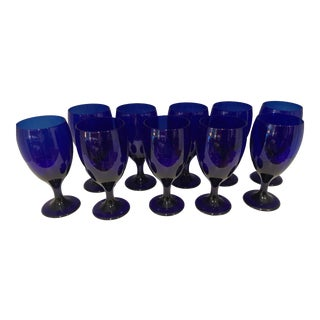Cobalt Blue Glass Wine/ Water Goblets - Set of 10 For Sale