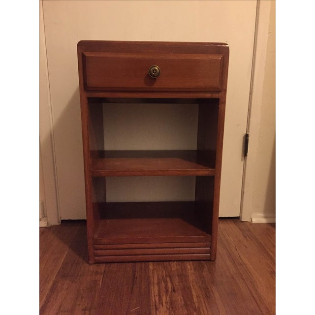 Vintage Wood One Drawer Nightstand Side Table - Image 3 of 5