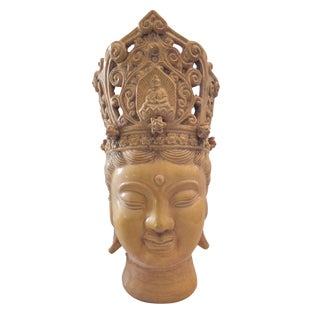 "Crowned Goddess Quan Yin Porcelain Head 16'"" For Sale"