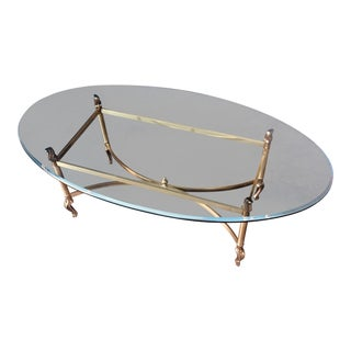 1970's Oval Brass & Glass Coffee Table For Sale