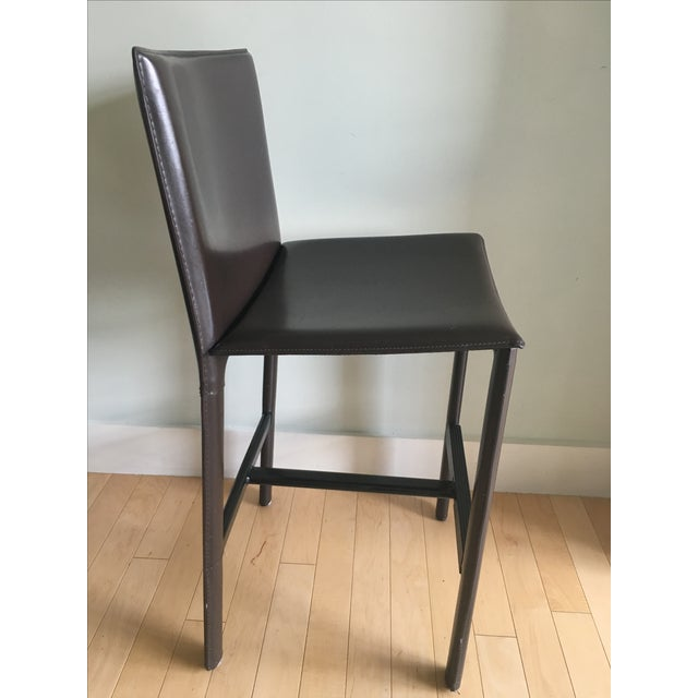 RH Brown Leather Counter Stools - Set of 3 - Image 3 of 6