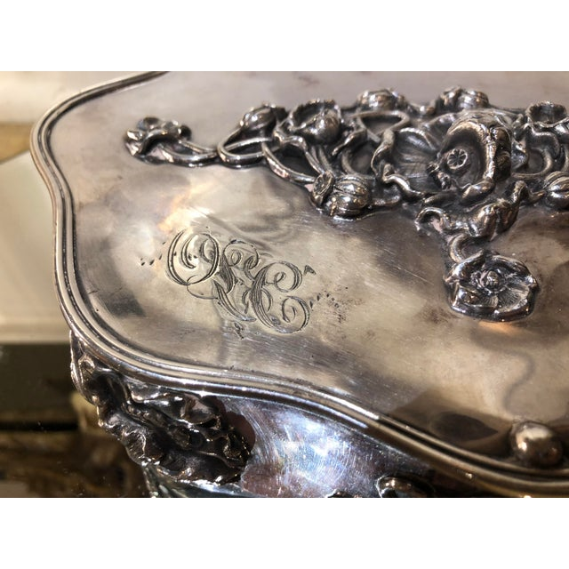 Art Nouveau Antique Art Nouveau French Silverplate Jewelry Box W Pink Satin Interior For Sale - Image 3 of 7