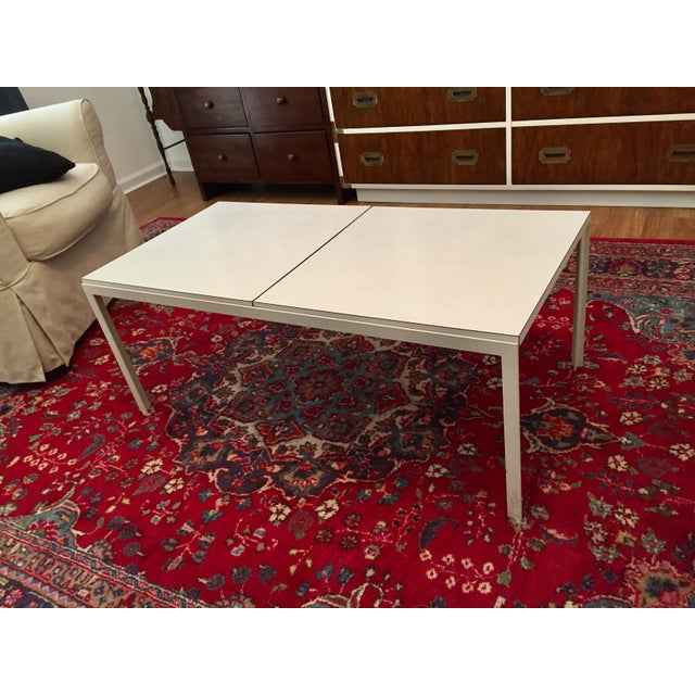 Vintage mid-century modern Knoll White Iron T Angle coffee table.