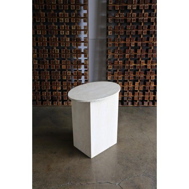 Gray Travertine Pedestal Circa 1975 For Sale - Image 8 of 8
