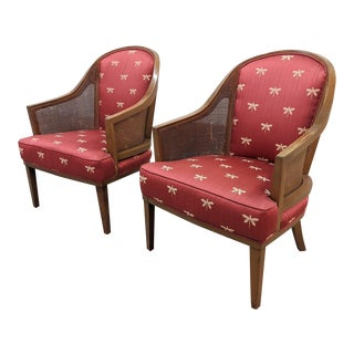 Mid Century Spoon Back Cane Arm Chairs - a Pair For Sale