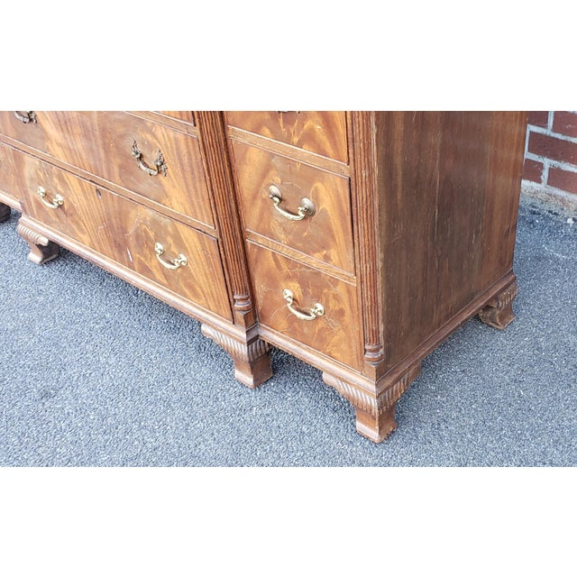 Brown Antique 1920s W&j Sloane Flame 12 Drawer Mahogany Dresser ~ Hallway Cabinet For Sale - Image 8 of 13