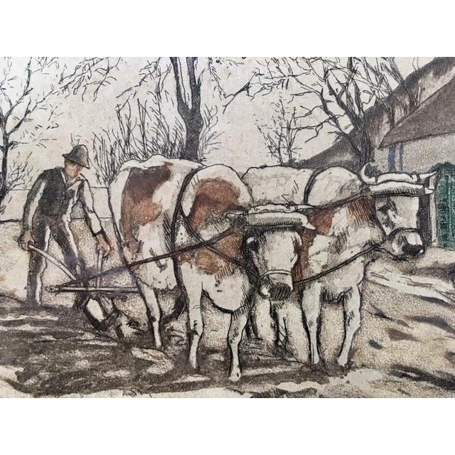 """Realism Early 20th Century Antique W. Landsman """"Country Life"""" Hand-Colored Lithograph Print For Sale - Image 3 of 8"""