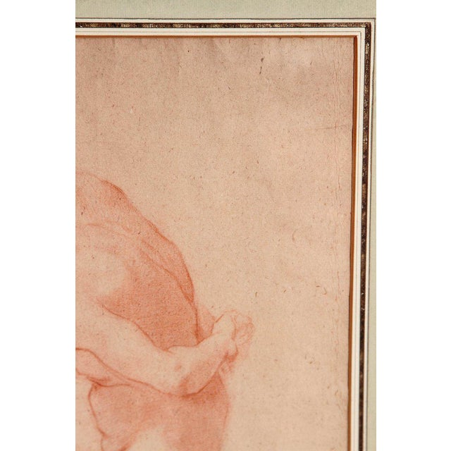 19th Century Continental Red Chalk Drawing, Figure Study For Sale - Image 4 of 12