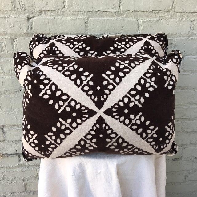Black Velvet & Silver Pillows - Pair - Image 2 of 5