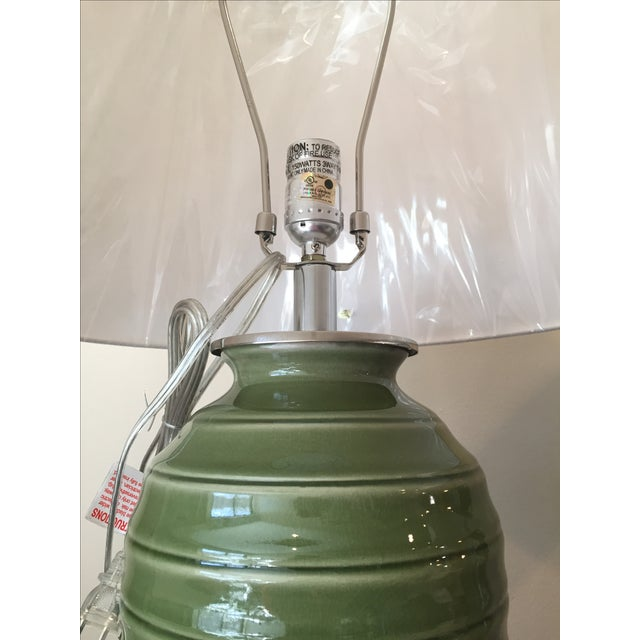 Port 68 Palm Green Glazed Lamps - Pair - Image 4 of 5