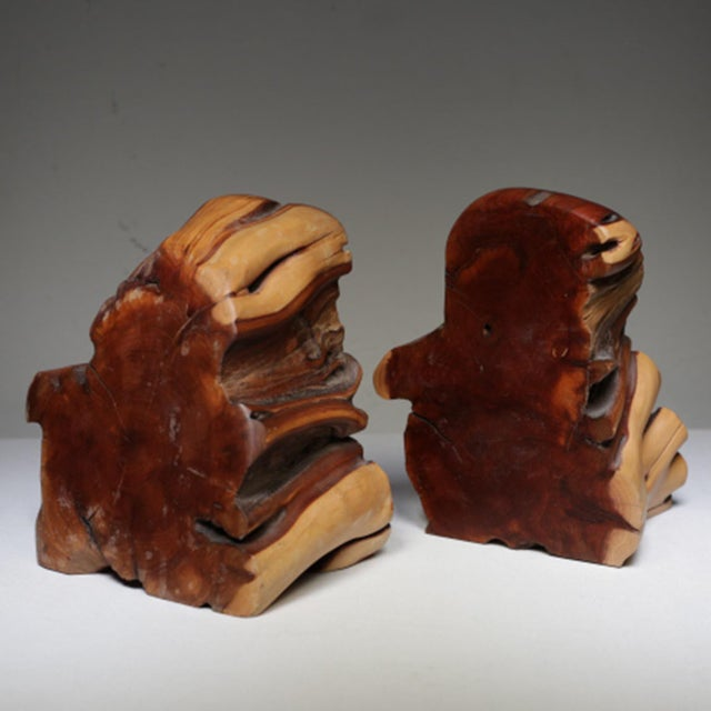 1970s Live Edge Burl Wood Bookends - A Pair - Image 6 of 7