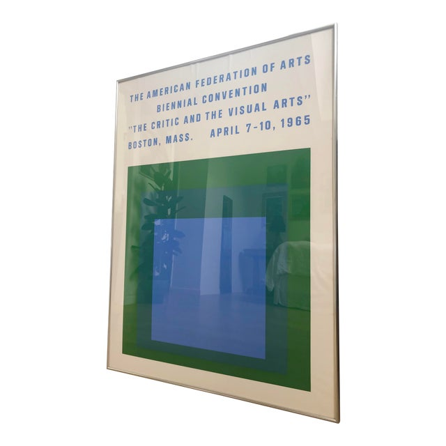 1965 Vintage Josef Albers Homage to the Square American Federation of Arts Framed Poster For Sale
