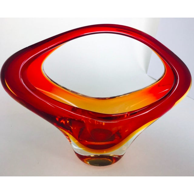 Italian Vintage Murano Art Glass Basket Modern Sommerso For Sale - Image 3 of 9