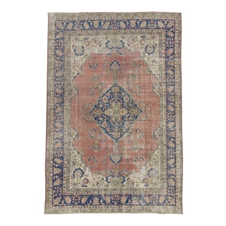 "Hand-knotted Vintage Large Turkish Oushak Rug - 98"" x 147"" For Sale"