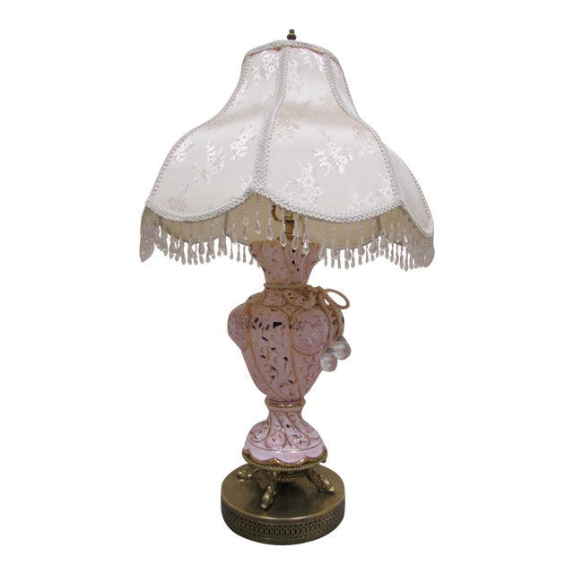 Vintage Italian Pink and Gold Capodimonte Table Lamp With Shade For Sale