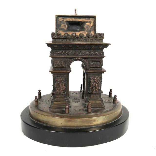 Grand Tour Small Grand Tour Bonze Architectural Model of the Arc De Triomphe in Paris For Sale - Image 3 of 11