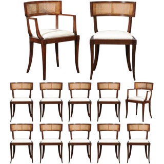 Exquisite Set of Twelve Klismos Cane Dining Chairs by Baker, Circa 1958 For Sale
