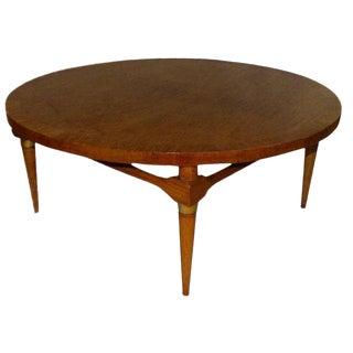 1950s Mid-Century Modern Round Walnut and Brass Coffee Table