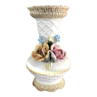 20th Century Italian Ceramic Vase With Flowers For Sale