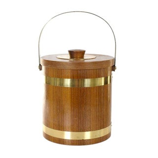 Brass & Wood Ice Bucket For Sale